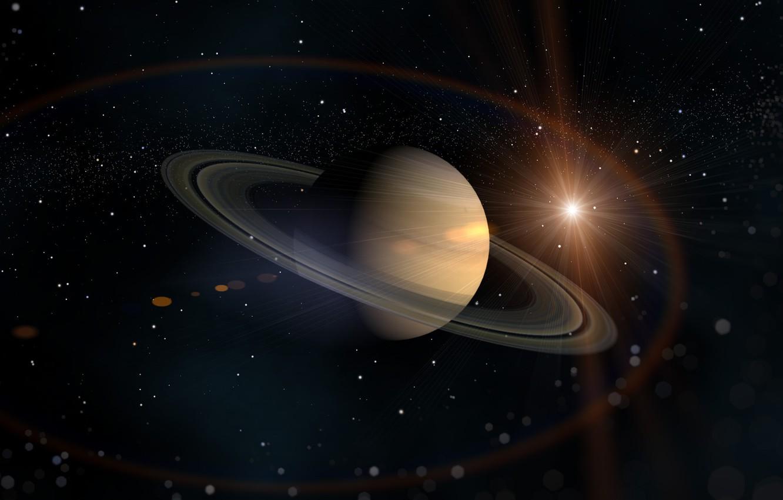 Фото обои солнце, звезды, кольца, Сатурн, Космос, планета нашей солнечной системы