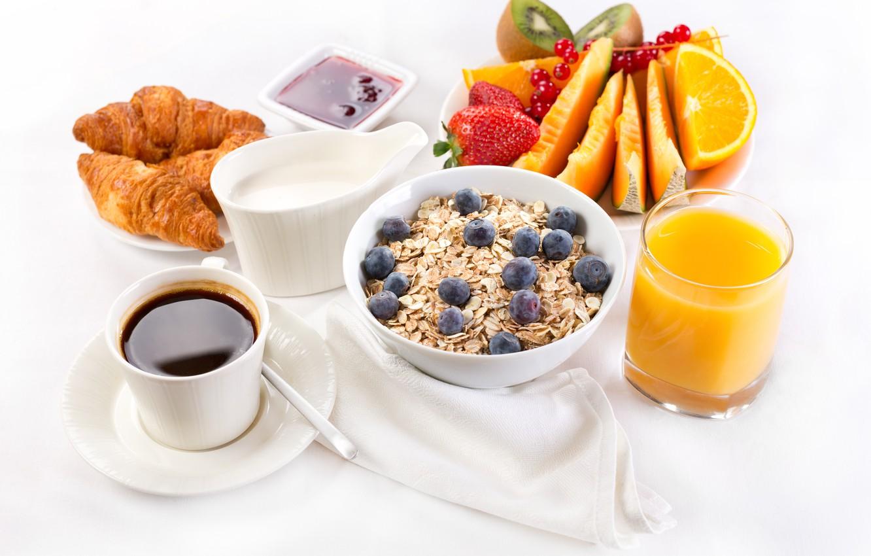 Фото обои кофе, завтрак, сливки, сок, фрукты, джем, круассаны, breakfast, сервировка, овсянка