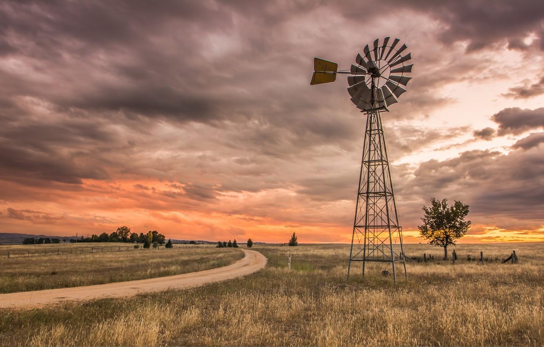 Фото обои пейзаж, ветряк, Australia, New South Wales, Brewongle, O'Connell Rd, Spinning Wheel Country Australia
