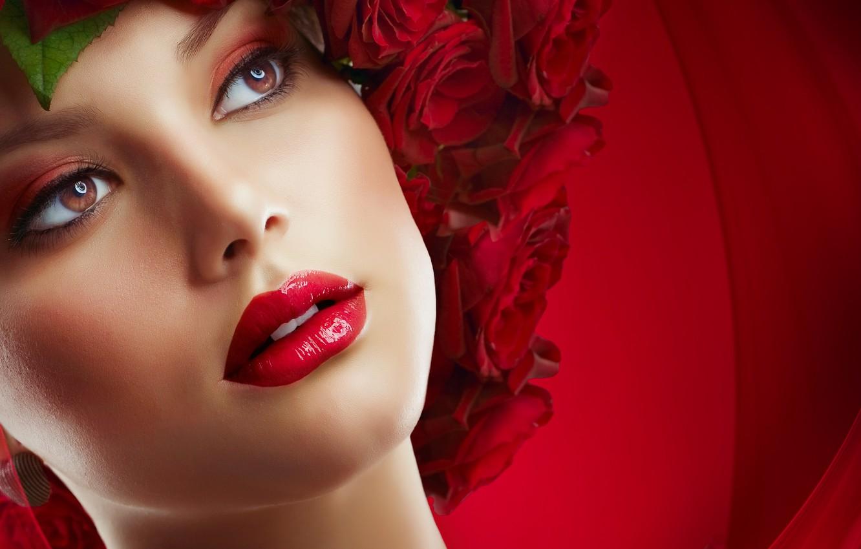 Фото обои глаза, девушка, цветы, розы, губы