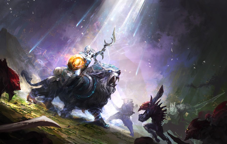 Фото обои герой, битва, art, Dota 2, Luna, moba, Moon Rider
