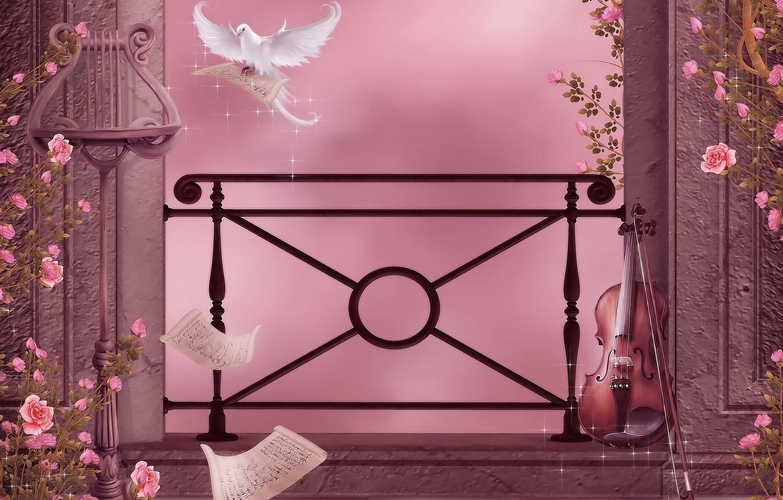 Фото обои цветы, ноты, музыка, скрипка, голубь, розы, music, колонны, гирлянды, flowers, violin, dove, roses, pigeon, columns, …