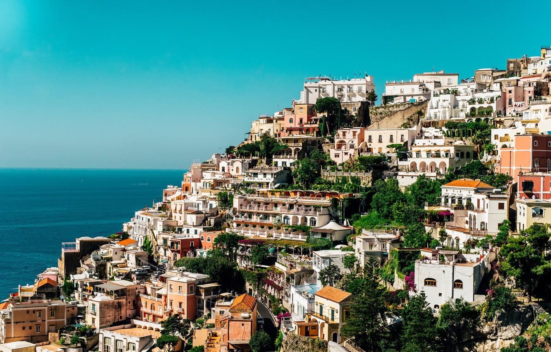 Фото обои sea, ocean, Italy, Campania, houses, Amalfi Coast, Salerno, sunny, Positano