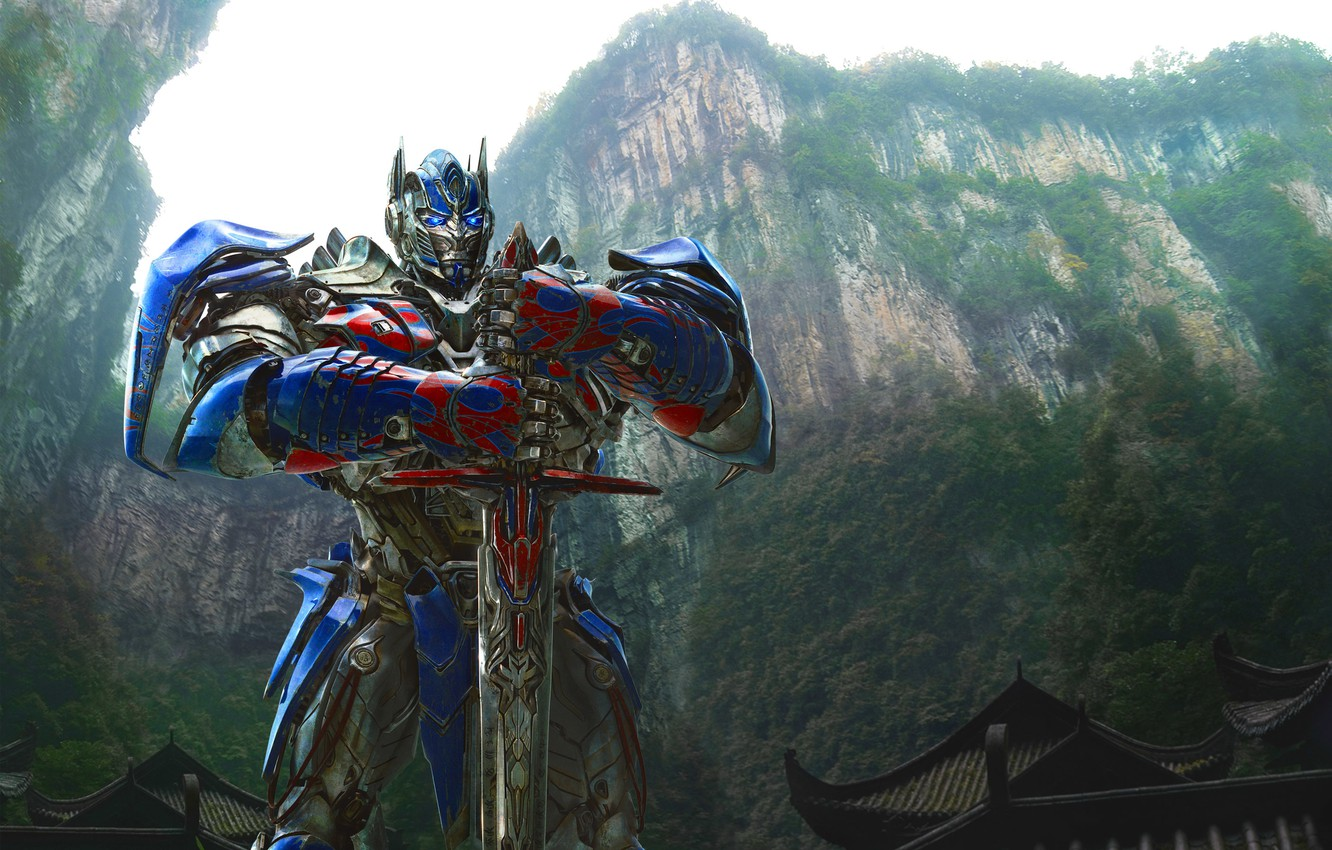 Фото обои Grand, Action, Red, Nature, Sky, Rock, Wood, Blue, Robot, the, Color, Warrior, Wallpaper, Optimus Prime, …