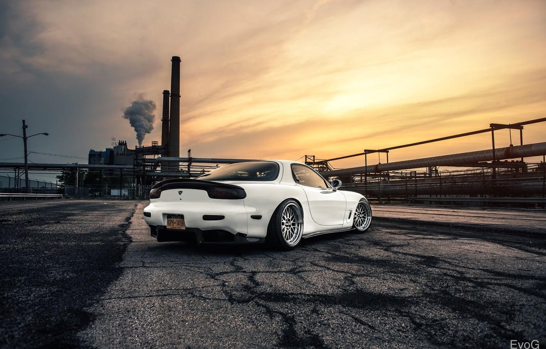 Фото обои Mazda, Car, Sun, White, RX-7, BBS, Wheels, Rear, Swap, LS1
