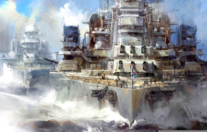 """Фото обои масло, картина, холст, """"Линейные корабли в строю, """" WW2"""