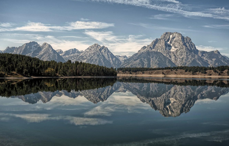 Фото обои лес, горы, озеро, отражение, Wyoming, Гранд-Титон, Grand Teton National Park, Oxbow Bend Lake