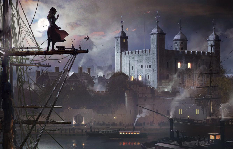 Фото обои Небо, Вода, Облака, Девушка, Дым, Собор, Луна, Птицы, Корабль, Здания, Арт, Синдикат, Syndicate, Ubisoft Quebec, …