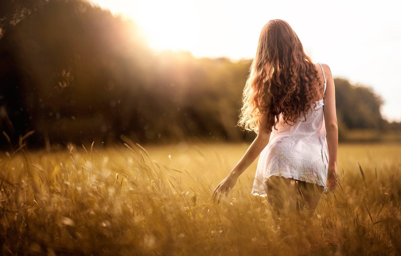 Фото обои поле, лето, девушка, I love this summer