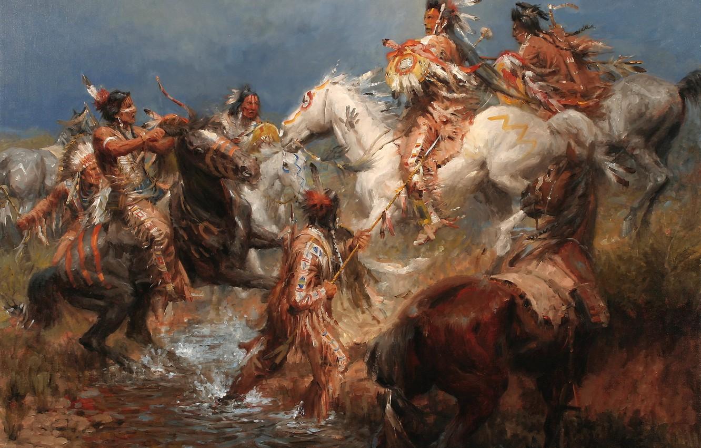 Фото обои картина, живопись, painting, 1831, A Clash Between the Crow and the Sioux, Andy Thomas