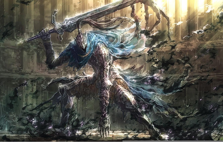 Фото обои игры, меч, арт, доспех, dark souls, upscale, knight artorias, рыцарь арториас, artorias the abysswalker, арториас …