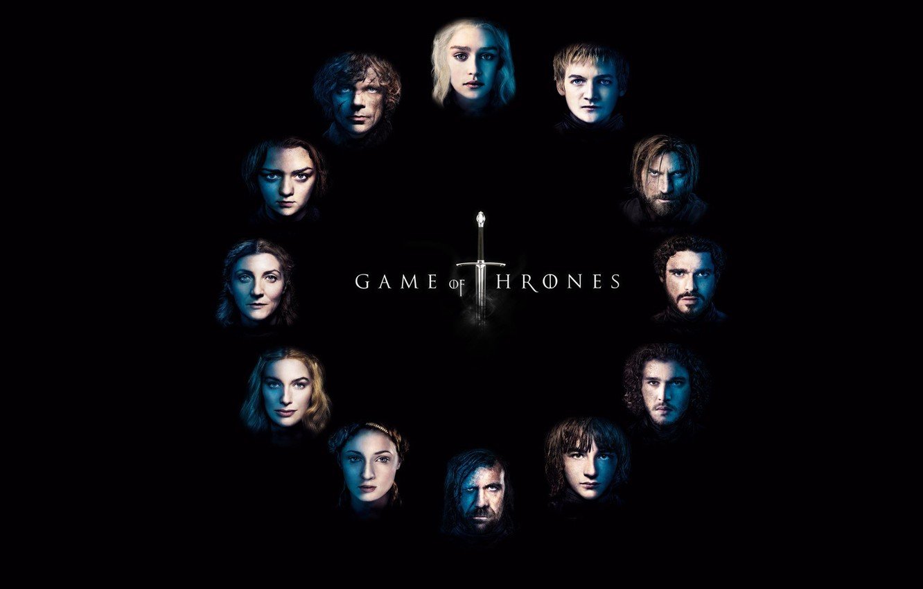 Фото обои Logo, Series, Game of Thrones, Background, Characters, HBO