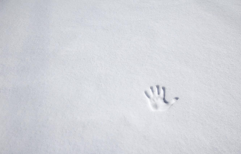 Фото обои зима, снег, ладонь, отпечаток