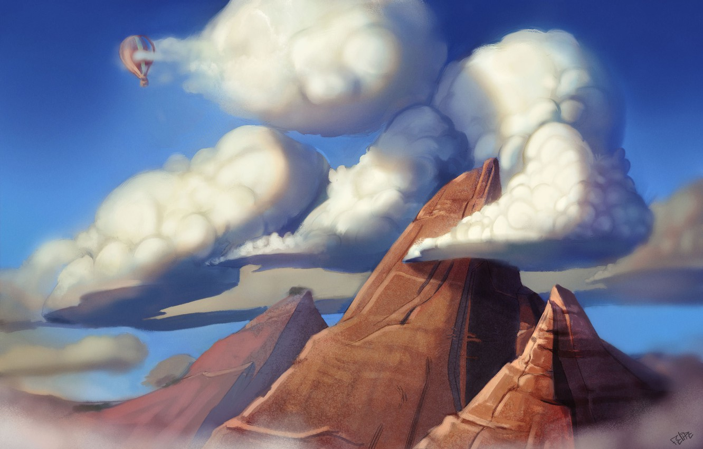 Фото обои облака, горы, воздушный шар, высота, арт, пик