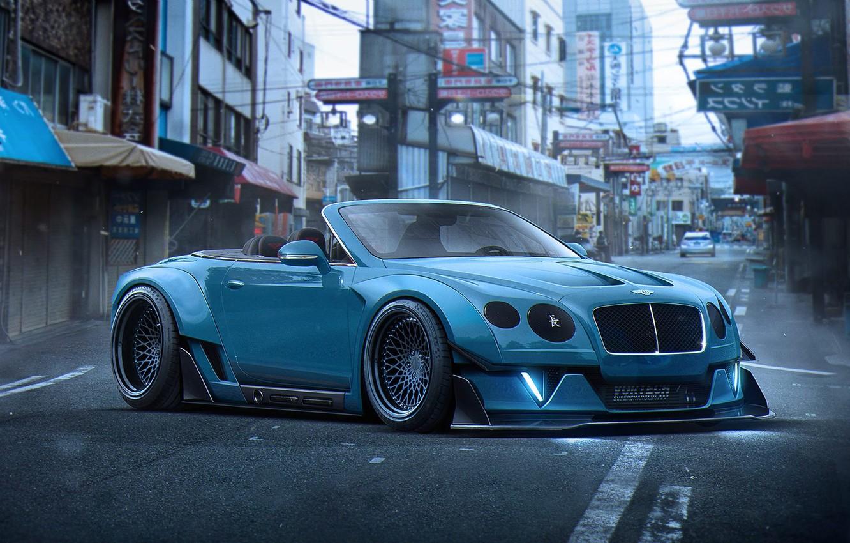 Фото обои Bentley, Continental, Blue, Tuning, Future, Stance, by Khyzyl Saleem