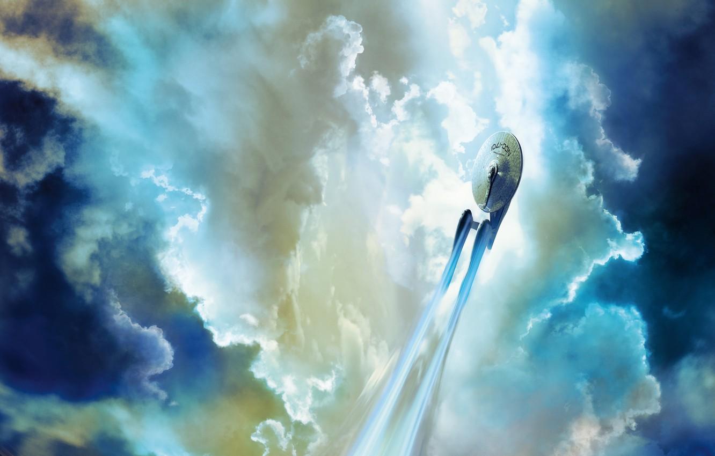 Фото обои небо, облака, полет, фантастика, Enterprise, Звездный путь, Star Trek, космический корабль, Starship, Spacecraft, NCC 1701