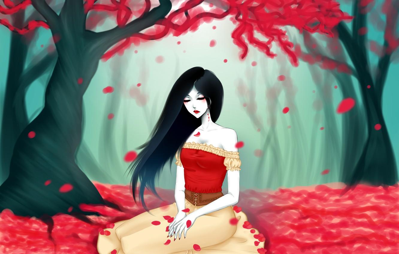 Фото обои листья, девушка, дерево, арт, красные, adventure time, eirintomo, marceline