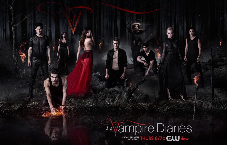 Фото обои Nina Dobrev, Нина Добрев, The Vampire Diaries, Дневники вампира, Пол Уэсли, Paul Wesley, Elena Gilbert, …