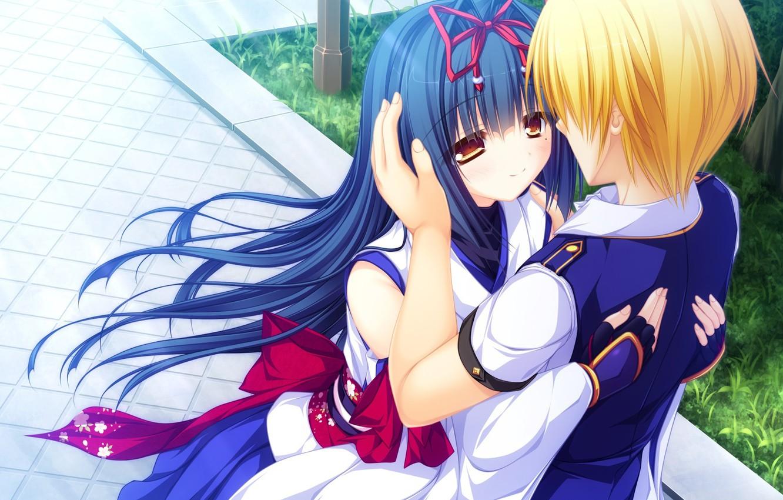 Фото обои девушка, аниме, парень, двое, свидание