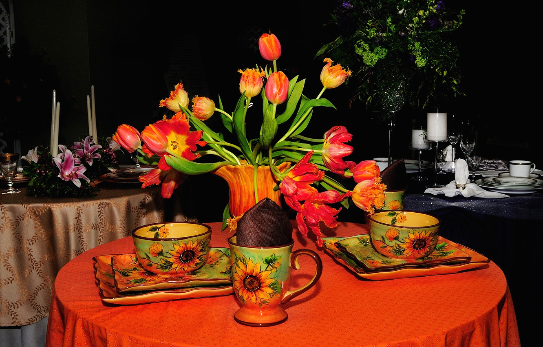 Обои цветы, натюрморт, сервиз, тарелка, стол. Разное foto 6