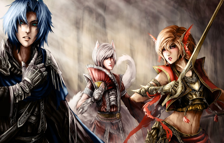 Фото обои девушки, арт, эльфы, girl, парень, воины, art, boy, warriors, elves