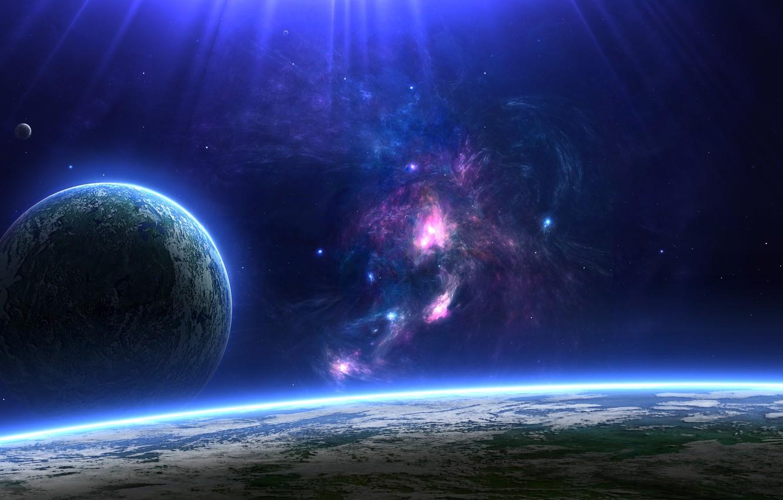 Фото обои поверхность, планета, спутник, атмосфера, созвездие