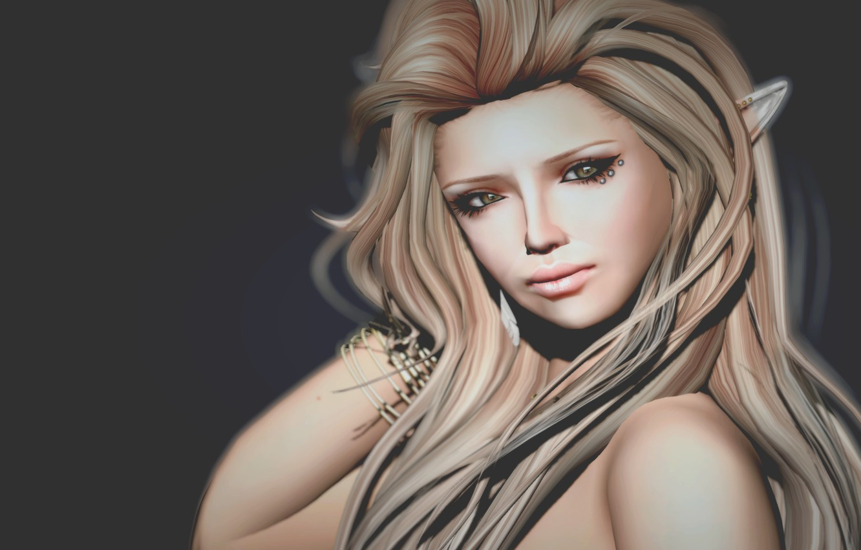 Фото обои взгляд, девушка, волосы, эльф, портрет