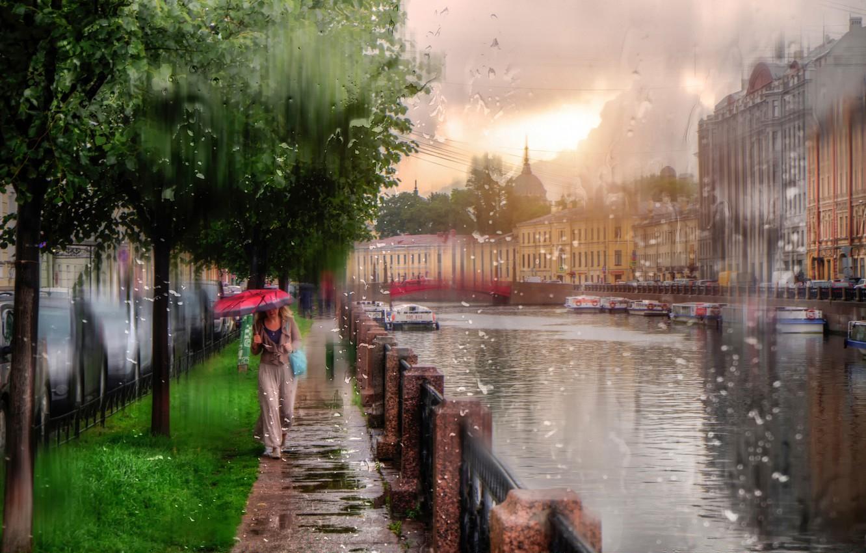 Обои зонт, капли, россия, дождь. Города foto 9
