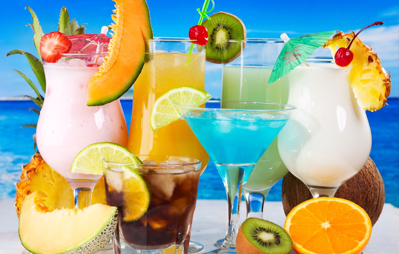 Фото обои апельсин, кокос, киви, лайм, ананас, напитки, коктейли, дыня
