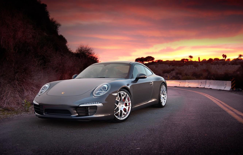 Фото обои Закат, Небо, Авто, Дорога, Горы, Porsche, Тюнинг, Машины