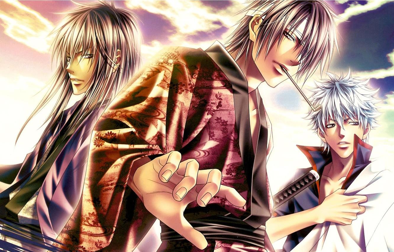 Фото обои небо, катана, повязка, парни, трое, Gintama, Sakata Gintoki, Takasugi Shinsuke, Katsura Kotaro