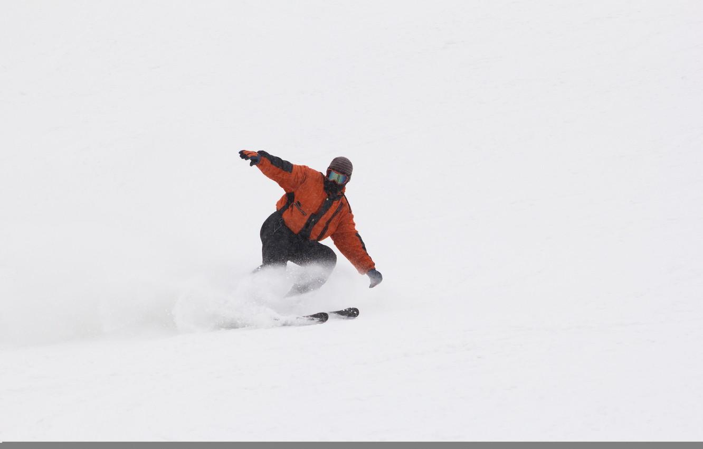 Обои спуск, Лыжи, лыжник. Спорт foto 9
