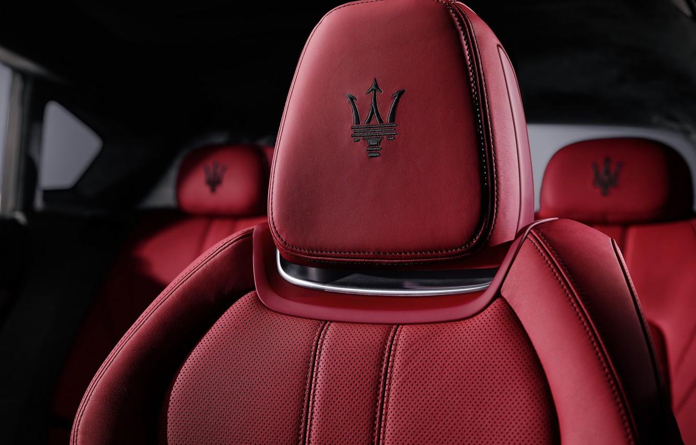 Фото обои красное, значок, кресло, лого, maserati, сидение