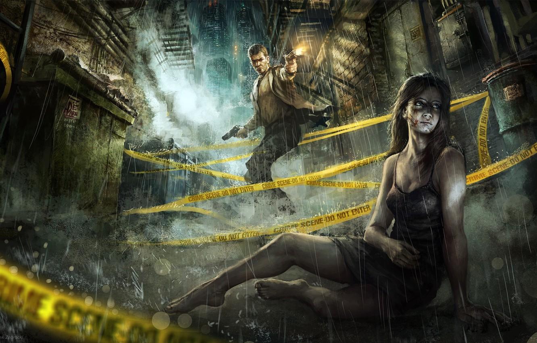 Фото обои девушка, ночь, город, оружие, дождь, пистолеты, лента, парень, переулок, выстрелы, раны