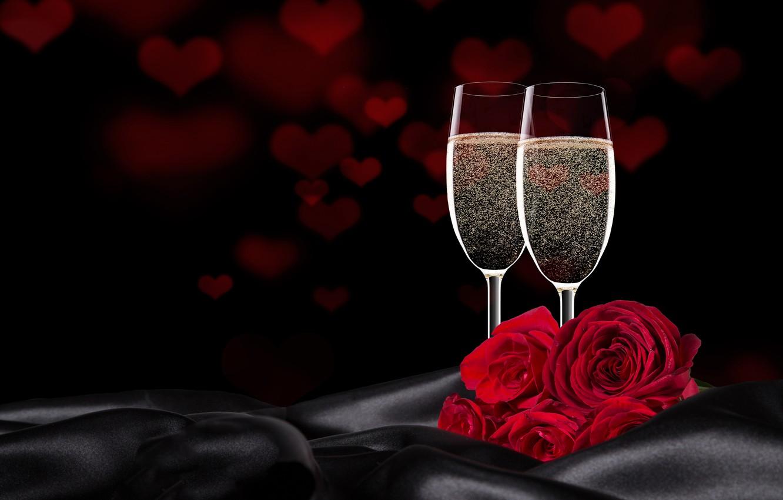 Картинка два бокала и роза
