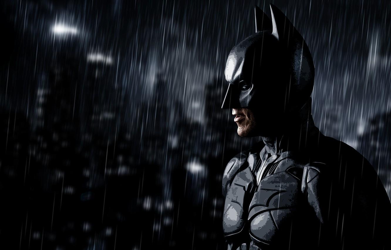 Фото обои дождь, batman, арт, Бэтмен, rain, art, dark knight rises