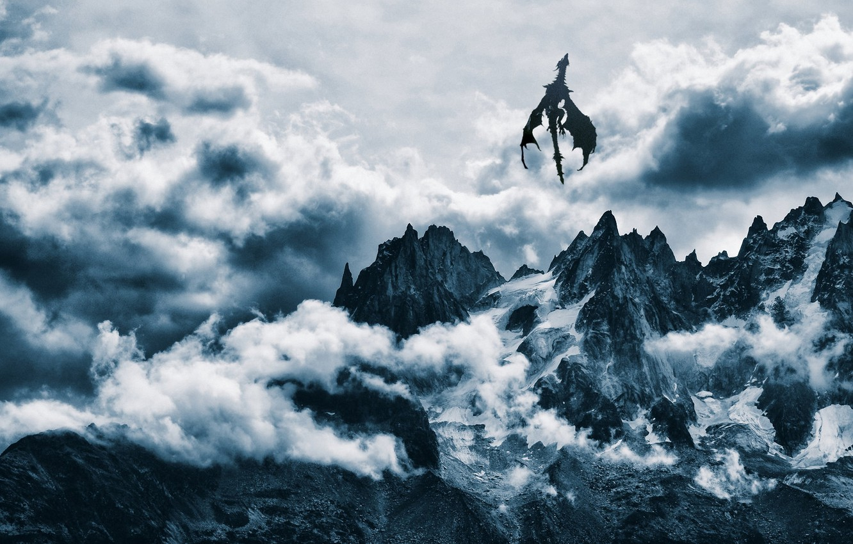 Фото обои облака, снег, горы, дракон, sky, mountains, snow, dragon