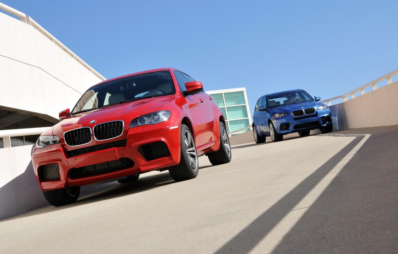 Фото обои синий, красный, BMW, БМВ, red, blue, кроссовер