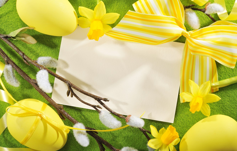 Фото обои цветы, яйца, Пасха, верба, flowers, нарциссы, spring, Easter, eggs