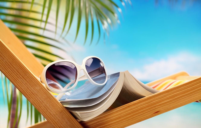 Обои Пальма, стул, очки, книга. Разное foto 6