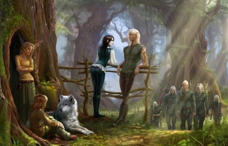 Фото обои лес, дерево, волк, мох, арт, эльфы, перила, солнечные лучи, лучники