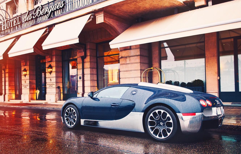 Фото обои город, Bugatti, после дождя, Grand, Veyron, Sport, Женева