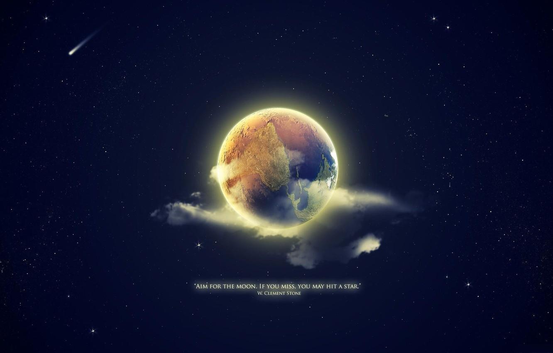 Фото обои звезды, фон, земля, обои, луна, планета, цитата, высказывание