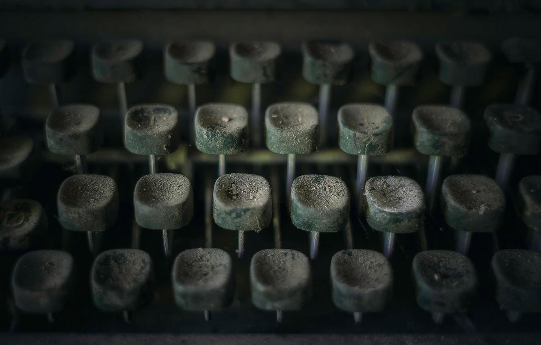 Фото обои макро, пыль, клавиши, пишущая машинка