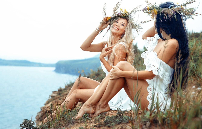 Фото обои лето, радость, река, summer, две девушки