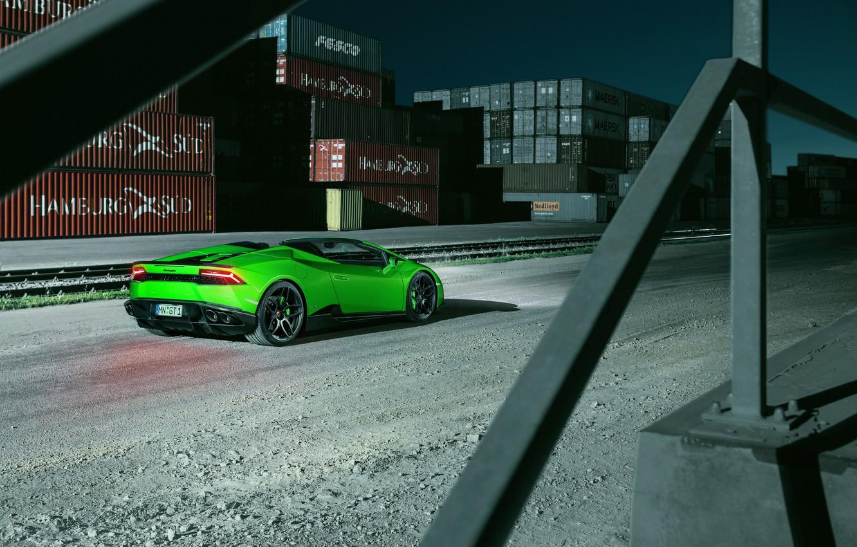 Фото обои car, авто, зеленый, обои, Lamborghini, Spyder, wallpapers, задок, ламборгини, Novitec, Torado, Huracan