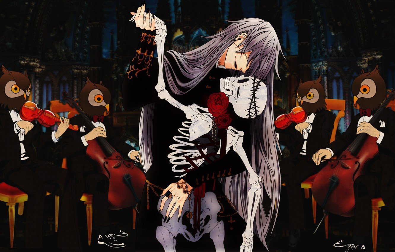 Фото обои танец, аниме, арт, скелет, совы, перчатка, kuroshitsuji, оркестр, дворецкий, пешки. 13. аниме, michaelis
