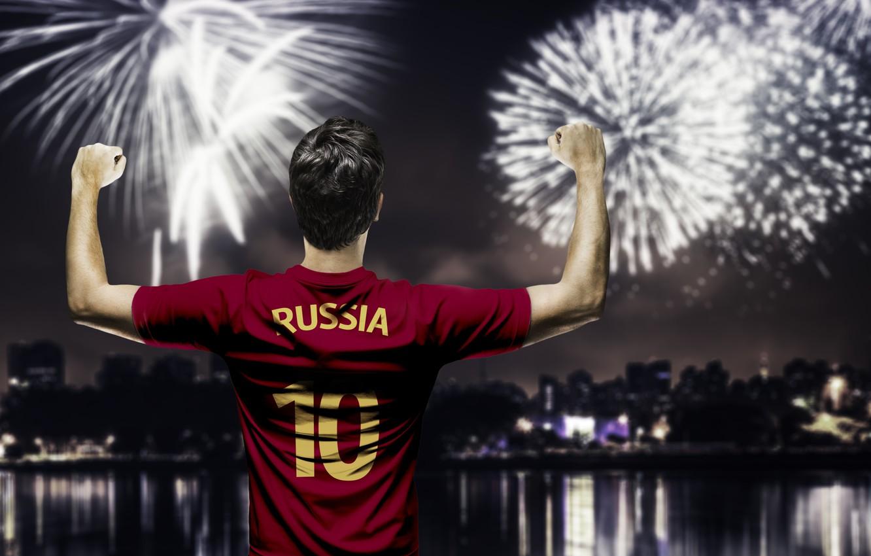 Фото обои салют, форма, Russia, футболист, team, football, игрок, fireworks, player, сборная России