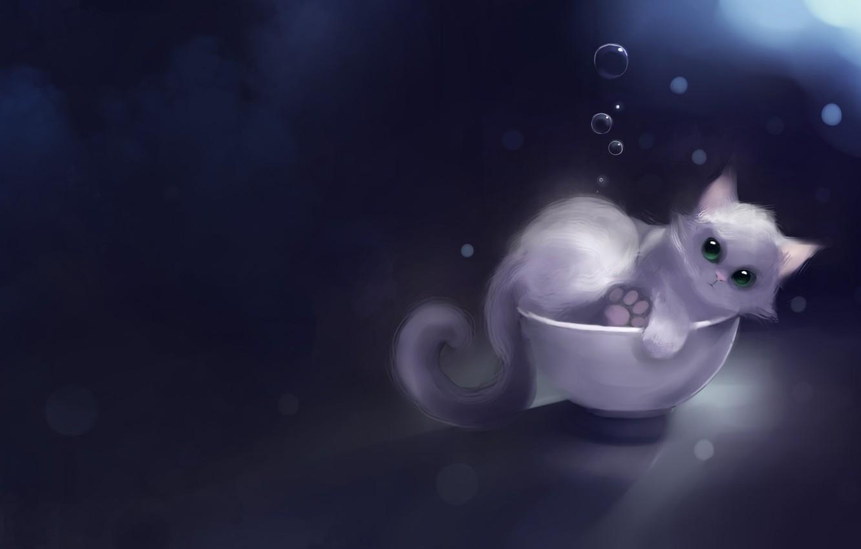 Фото обои Котенок, apofiss, in the bowl, Kitten