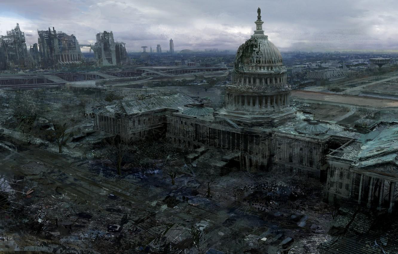 Фото обои город, вашингтон, Fallout 3, Capitol, капитолий
